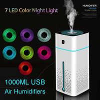 Humidificadores de aire portátiles USB de 1000ml difusor de aceite aromático atomizador ultrasónico humidificador capacidad de aromaterapia Coche Oficina en casa