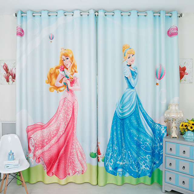 2017 New Design Cartoon Princess Blackout Curtain Kids Room Window Curtains  Girls Princess Curtain For Living