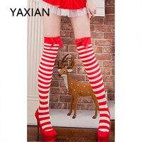 YAXIAN Sollant пикантные красные и белые лук полосой сексуальные рождественские чулки бедра высокие носки новинка 2018 года для женщин выше колена ...