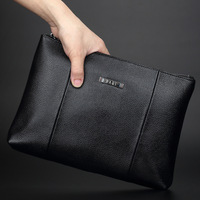 Men Business Fashion Famous Brand Top Quality Genuine Leather Long Wallet Large Capacity 2 Fold Soft Leather Hand Bag Clutch Bag