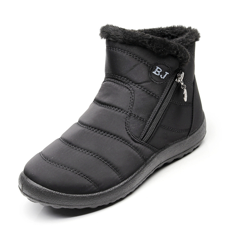 NAUSK Plus Size 35-43 2019 Winter New Snow Boots Female Tube Thick Plush Waterproof Cotton Boots Side Zipper Women Ankle Boots big toe sandal