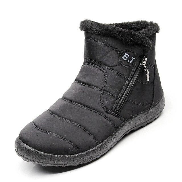 NAUSK Plus Size 35-43 2019 Inverno Novas Botas de Neve Fêmea Tubo de Pelúcia Grosso Zíper Lateral Botas de Algodão À Prova D' Água botas de Tornozelo mulheres