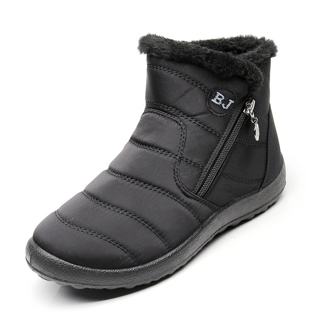 NAUSK Plus Size 35-43 2019 Winter New Snow Boots Female Tube Thick Plush Waterproof Cotton Boots Side Zipper Women Ankle Boots