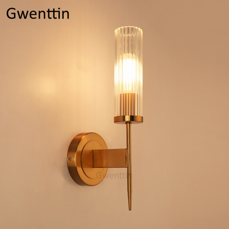 Luxury Glass Wall Sconce Light Fixtures Gold Wall Lamps Modern Led Mirror Lights for Bathroom Bedroom Stair Luminaire Home DecoLuxury Glass Wall Sconce Light Fixtures Gold Wall Lamps Modern Led Mirror Lights for Bathroom Bedroom Stair Luminaire Home Deco