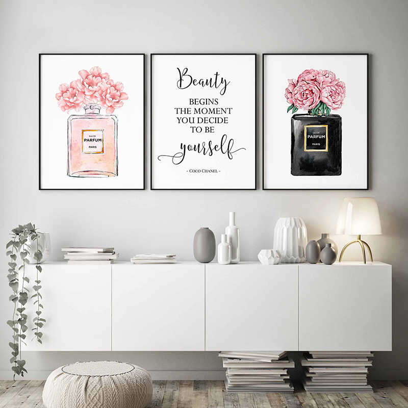 Canvas Printed Pictures Wall Artwork Nordic Style Fashion Perfume Paintings Modern Home Decoration Module Poster Living Room