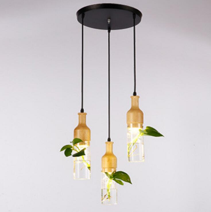 Plant chandelier Modern minimalist creative bar plant lamp Restaurant living room glass bottle chandelier led lighting fixture