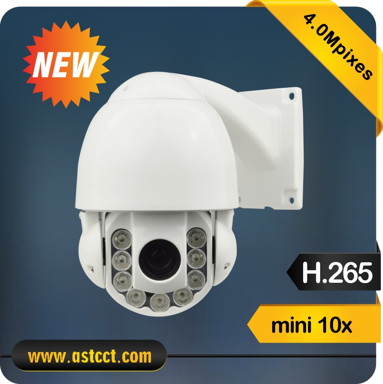 H.265 New Product Outdoor10x Zoom Mini IP PTZ Camera Full Metal 4.0Megapixels Night Vision IR High Speed Dome Camera 4 in 1 ir high speed dome camera ahd tvi cvi cvbs 1080p output ir night vision 150m ptz dome camera with wiper