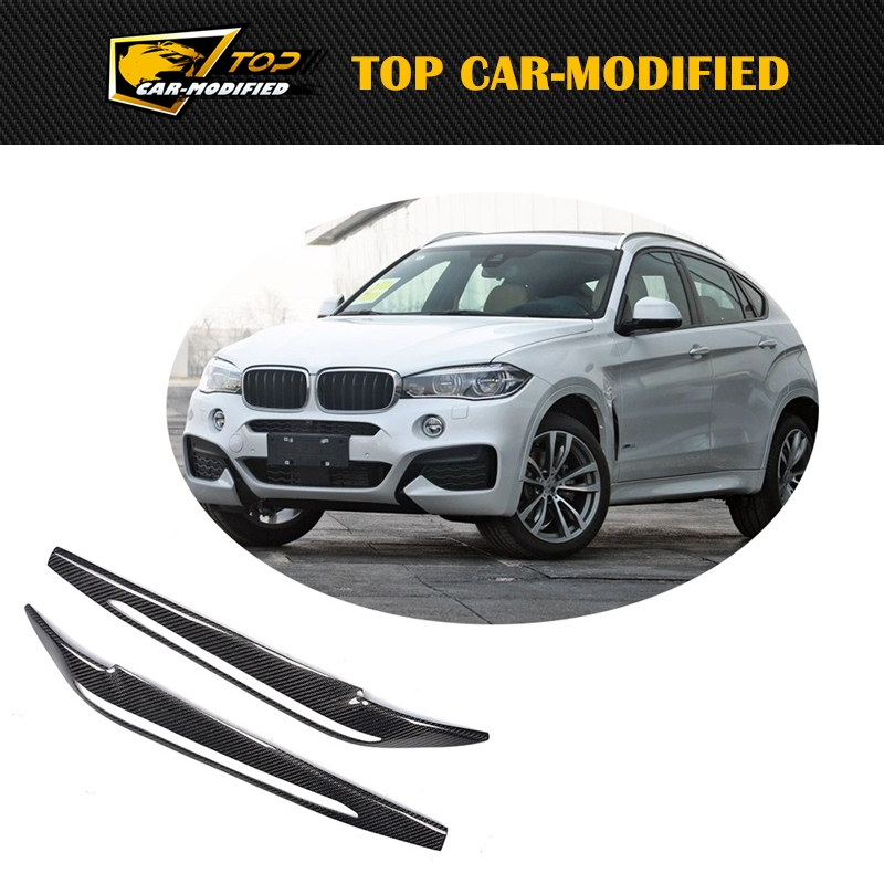 Free shipping X6 Carbon Fiber Headlight Eyelids Eyebrows Covers For BMW X6 E71 2014-2017 Head Lamp Eyebrows stickers Car Styling carbon fiber car rear bumper extension lip spoiler diffuser for bmw x6 e71 e72 2008 2014 xdrive 35i 50i black frp