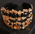 Fashion Crown Black velvet Gold Flower Bridal Tiara Luxury champagne/black big Gem Headband Hair jewelry Accessories wholesale