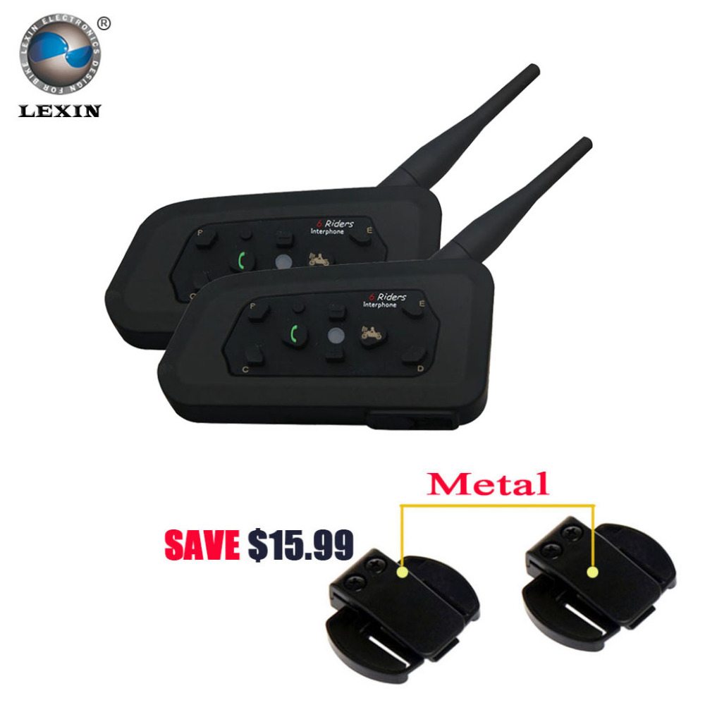 Lexin 2017 New 2PCS 1200M Motorcycle Bluetooth Helmet Intercom for 6 riders BT Wireless intercomunicador Interphone Headsets MP3