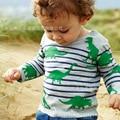 Niños de manga larga T-shirt que basa la camisa dinosaurio Stripes marca de ropa de los niños en primavera y otoño