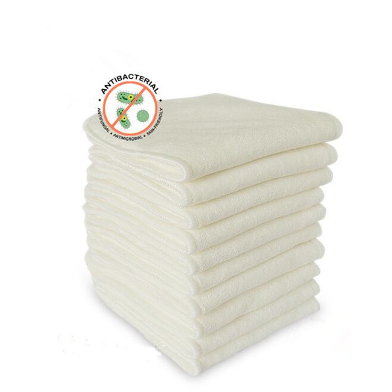 10 PCS 4 Layers Bamboo & Microfibre Inserts For Baby Cloth Diaper Cover Reusable Washable Liners For Pocket Cloth Nappy
