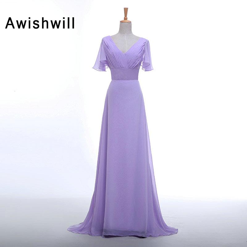 Cheap V Neck Lavender Color Long Evening Dress Short Sleeve Ruched ...