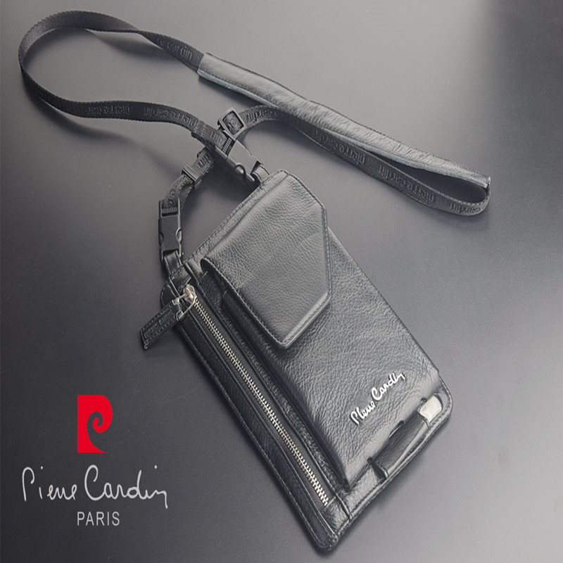 Pierre Cardin Casual Shoulder Bag Man Bag Cowhide Genuine Leather Bag Strap For iPhone XR XS