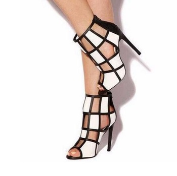 Geometric Black White Women High Heel Sandals Peep Toe Cut-out Back Zipper Cage Shoes Spring Summer Dress Shoes Glatiator Boot