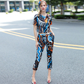 2017 Summer Runway Designer 2 Piece Set Suit Women's High Quality Short Sleeve Abstract Geometry Printed Top + Pant Clothing Set