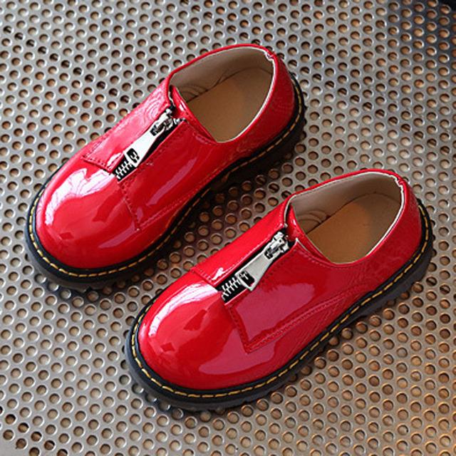 Zip aberto crianças shoes 2017 patente de couro pu crianças meninas crianças festa vestido shoes meninos primavera oxfords shoes unisex
