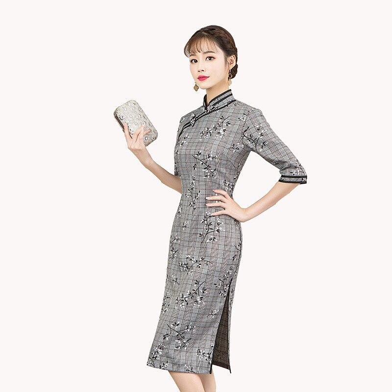 Amélioration Cheongsam automne nouvelle impression robe à carreaux mode quotidienne fille rétro col montant demi manches Qipao