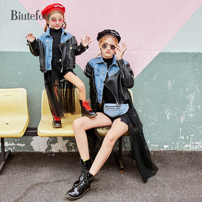 2019 New arrival mother and daughter family matching outfits fashion denim patchwork pu jackets