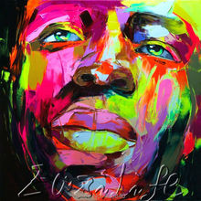 Palette knife portrait Face Oil painting christmas figure canva Hand painted Francoise Nielly wall Art picture2