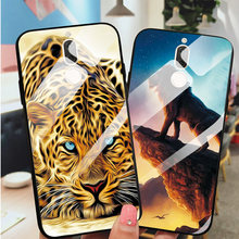Tempered Glass Phone Case For Huawei Mate 10 Lite Back Cover For Huawei Nova 2i Cool Lion Soft Edge Glass Phone Bags Shell(China)