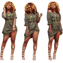 African womens explosions plus color spot digital printing flat short sleeve round neck loose dress unique popular letter print
