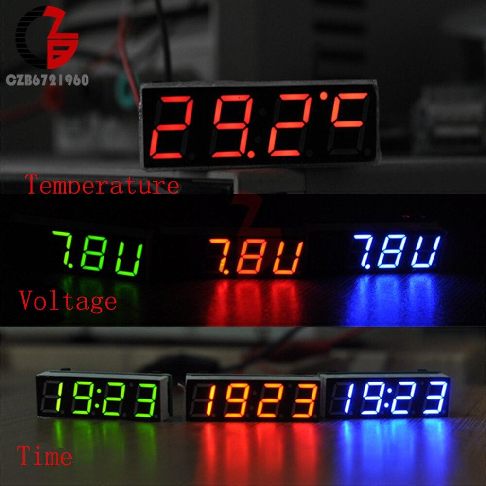 3 In 1 Digital LED Time Clock Temperature Voltage Thermometer Voltmeter Volt Meter Monitor DC 5V 12V 24V for Car Motorcycle DIY 24 hour digital clock yellow led display car clock digital meter panel meter adjustable clock dc 12v 24v diy time monitor tester