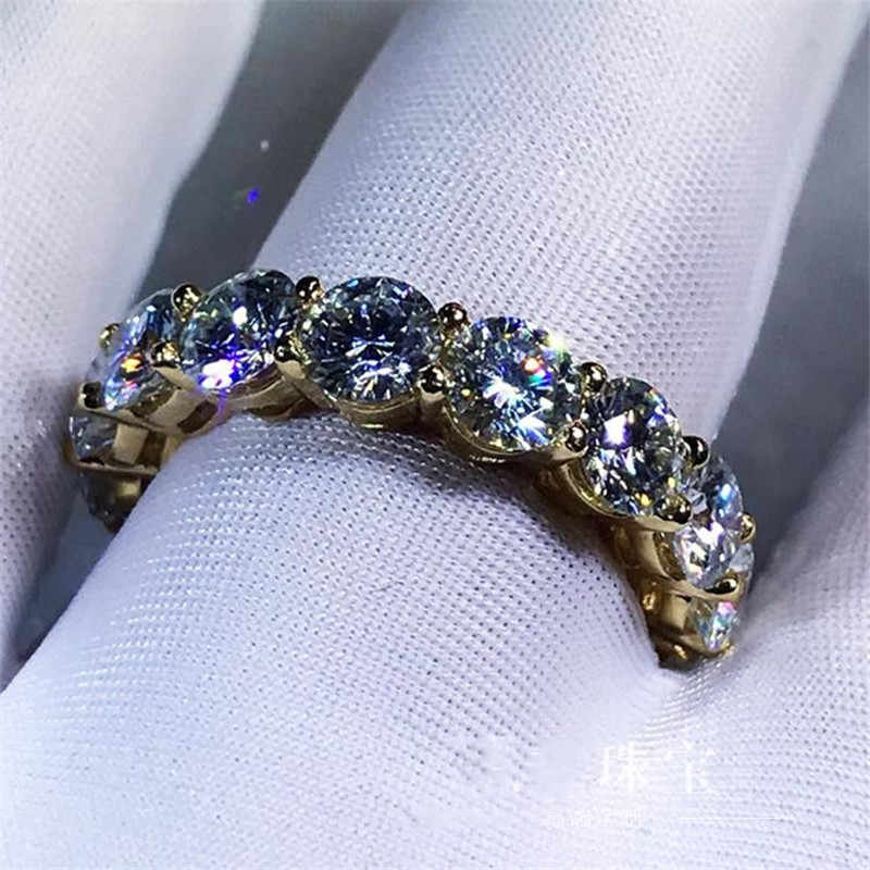 Choucong 3 สี Infinity แหวนทองคำขาวเงิน 925 แหวนหมั้นแหวน 4 มม.5A zircon เครื่องประดับ