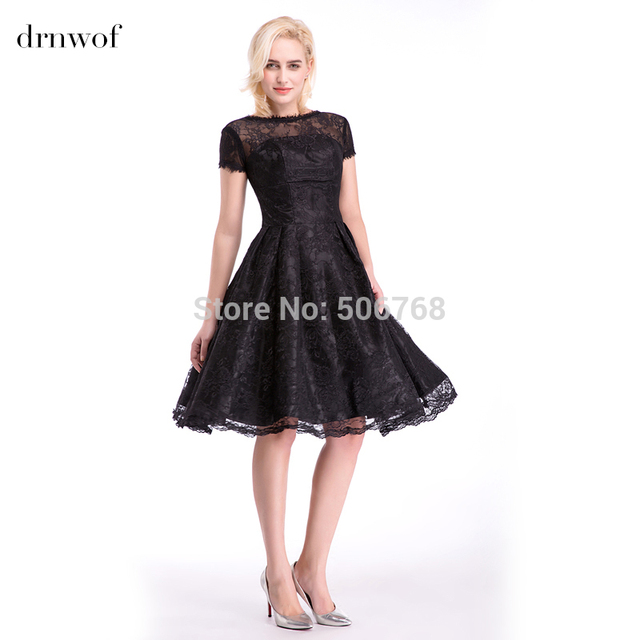 2017 New Lace Cocktail Dresses A-line Short Sleeve Knee-Length Women Lady O 5a5688cc53a2