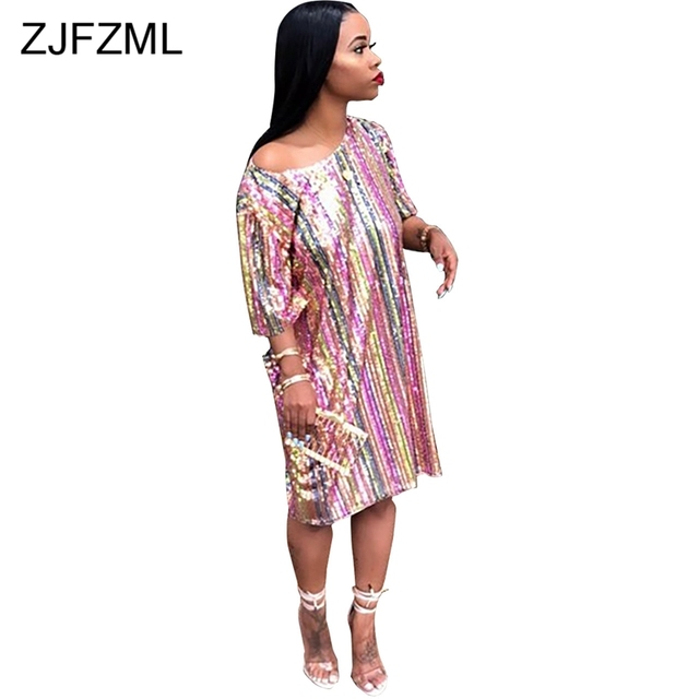 ZJFZML Colorful Sequined Sexy Party Dress Women Round Neck Short Sleeve  Loose Mini Dress Summer Vertical 0285f3e08ca9