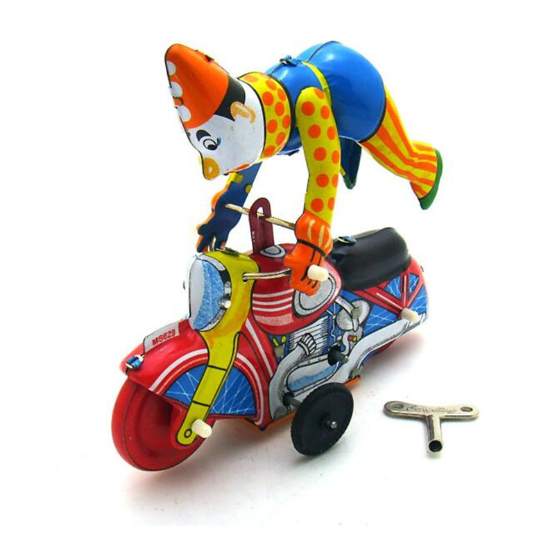 Vintage Clockwork Wind Up Clown On Motorcycle Toys Photography Children Kids Adult Tin Toys Classic Toy Christmas Gift