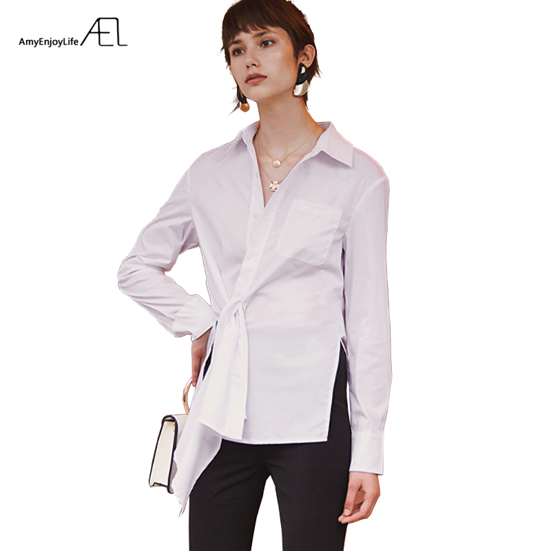 AEL irrégulière dessus de chemise été blanc chemises coton femmes 2019 décontracté lâche femmes chemises de grande taille Blouse côté fente Streetwear