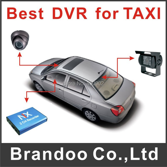 Free Shipping 2 channel Mini DVR With Motion Detection Taxi Car Security Camera Recorder