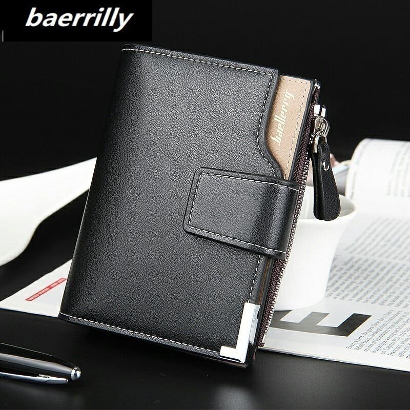 Baerrilly brand Wallet men leather business men wallets purse short male clutch leather wallet mens money bag quality guarantee