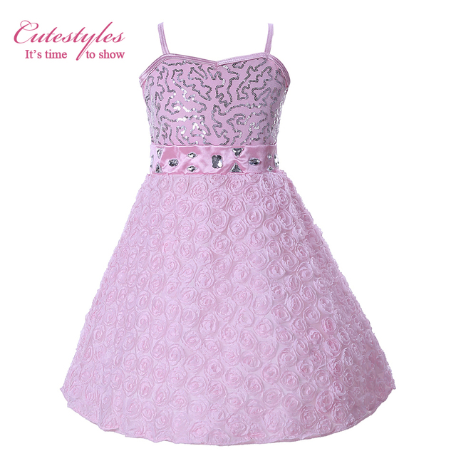 da7ebafcf Cutestyles Girls Flower Dresses For Wedding And Party Silver Sequined Pink  Lace Rose Camisole Dress Coast Dresses GD40322-6