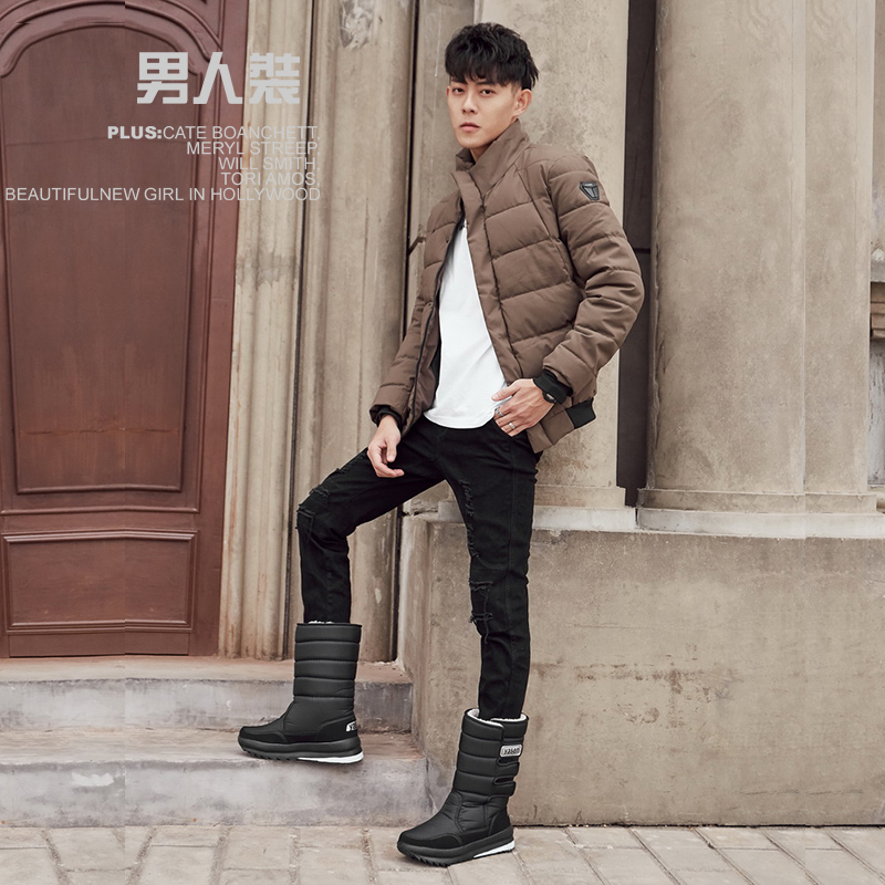 snow boots men waterproof mens winter boots With Fur winter shoes slip-resistant Men Boots platform thick plush warm Plus size 5