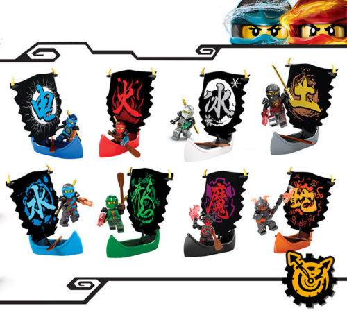 8PCS Ninja Toys Set D921,Kai Jay Cole Zane Nya Lloyd with Pirate Boat/Sailboat