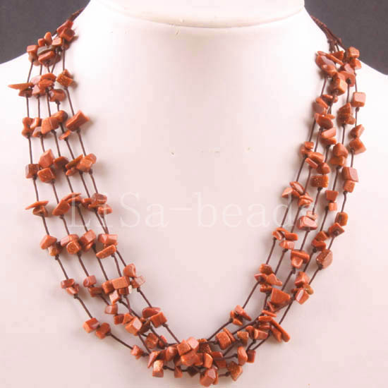 Free Shipping New without tags 5X8MM Chip Beads Nylon Line Weave Gold Sandstone Necklace 19 1Pcs RE083