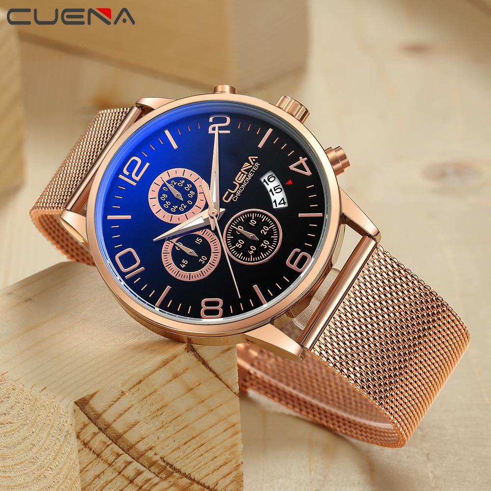 CUENA Watch Men Quartz Wristwatches Fashion Stainless Steel Male Watches 2018 Dress Watch Men Gift Fashion 30M Waterproof Clock цена