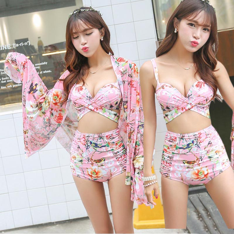 657c3f5299476 High Waist Tight Bathing Suit Top+Bottom+Cover ups Swimsuit Gather Plus  Size Swimwear Flower Print maillot de bain femme 61878-in Bikinis Set from  Sports ...