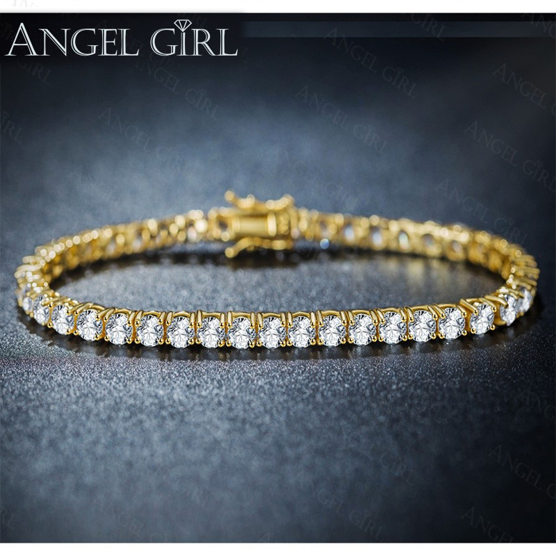 Angel Girl Fashion Jewelry Store Gold Color 4 Prongs Round Tennis Bracelet With 3MM/4MM Clear CZ Of Double-safety-clasps 185MM