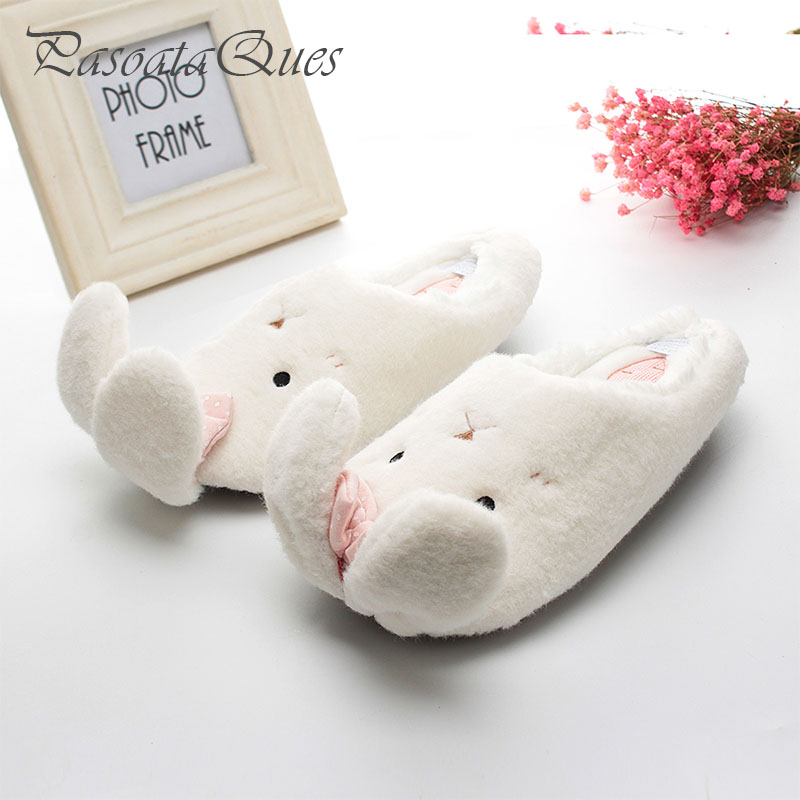 Cute Rabbit Animal Pattern Cotton Home Slippers Women Indoor Shoes For Bedroom Adult Guest House Warm Winter Soft Bottom Flats cute sheep animal cartoon women winter home slippers for indoor bedroom house warm cotton shoes adult plush flats christmas gift