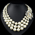 2016 New Fashion Bib Collar Necklace & Pendant Chunky Choker Multilayer Crystal Flower Pearl Necklace For Women Jewelry Bijoux