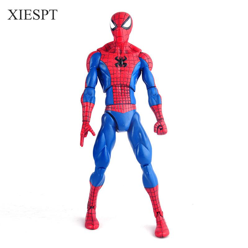 XIESPT 23cm spider-man PVC Action Figure toys dolls 1 pcs big size spider man Model collection gift пластилин spider man 10 цветов