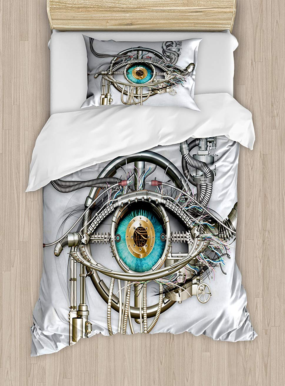 Eye Duvet Cover Set  Mechanical Design of an Eye Complex Machinery with Engineering and Technology Theme 2 Piece Bedding SetEye Duvet Cover Set  Mechanical Design of an Eye Complex Machinery with Engineering and Technology Theme 2 Piece Bedding Set
