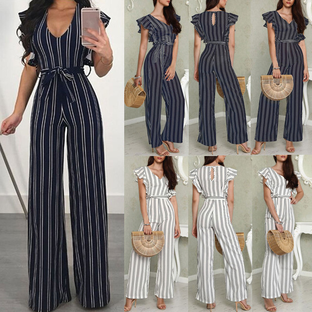 Two Color Striped Casual 2020 Summer V Neck Sleeveless Boho Rompers Jumpsuit