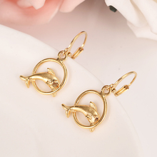 Gold Filled Women's Drop Earring round  dolphin Dangle Earring Charms sea Jewelry shell Earrings brincos Vintage girls kids gift gold african dubai filled women s drop earring flower dangle earring charms jewelry earrings brincos vintage girls kids gift