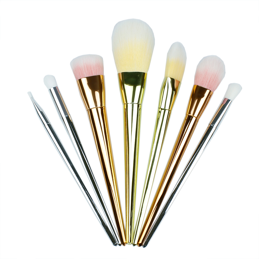 Art lalic Gold 7 Pcs Makeup Brushes Set Synthetic Hair Make Up Brushes Tools Cosmetic Foundation Brush Kits