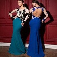 Новое поступление Sheer Кружева Вечернее платье длиной 2019 синие королевские платья с открытой спиной Формальные Вечерние платья Vestido De Feata