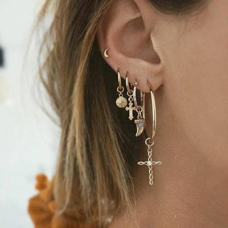 5 Pcs/Set Minimalist Gold Color Round Circle Earrings Cross Crescent Pendant Drop Dangle Earring for Women Ear Piercing Jewelry